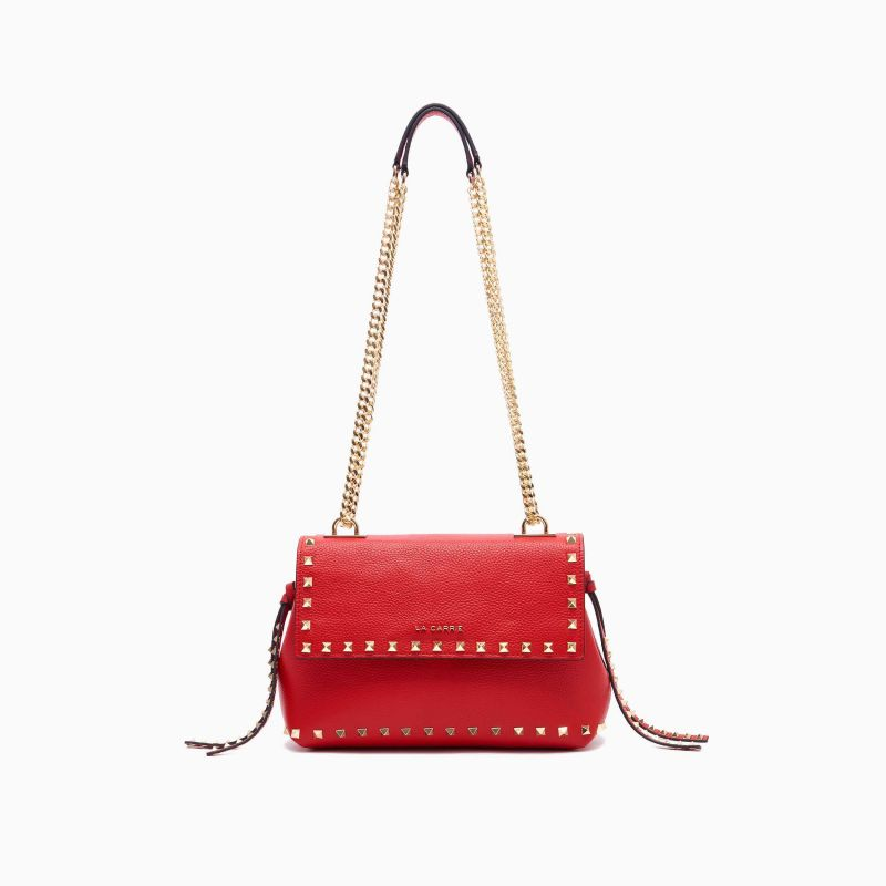 SHOULDER BAG STUD RED